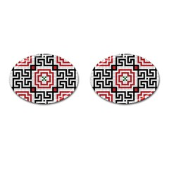 Vintage Style Seamless Black White And Red Tile Pattern Wallpaper Background Cufflinks (oval)