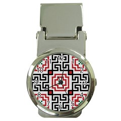 Vintage Style Seamless Black White And Red Tile Pattern Wallpaper Background Money Clip Watches