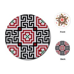 Vintage Style Seamless Black White And Red Tile Pattern Wallpaper Background Playing Cards (round)
