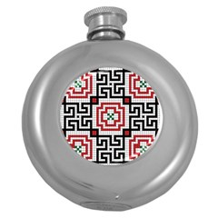 Vintage Style Seamless Black White And Red Tile Pattern Wallpaper Background Round Hip Flask (5 Oz)