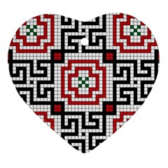 Vintage Style Seamless Black White And Red Tile Pattern Wallpaper Background Heart Ornament (two Sides)