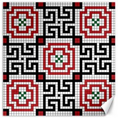 Vintage Style Seamless Black White And Red Tile Pattern Wallpaper Background Canvas 12  x 12