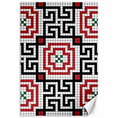 Vintage Style Seamless Black White And Red Tile Pattern Wallpaper Background Canvas 12  X 18