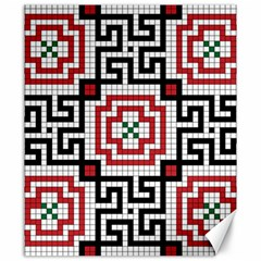 Vintage Style Seamless Black White And Red Tile Pattern Wallpaper Background Canvas 20  X 24