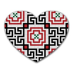 Vintage Style Seamless Black White And Red Tile Pattern Wallpaper Background Heart Mousepads