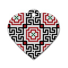 Vintage Style Seamless Black White And Red Tile Pattern Wallpaper Background Dog Tag Heart (One Side)