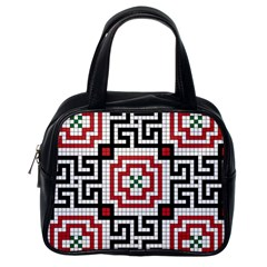 Vintage Style Seamless Black White And Red Tile Pattern Wallpaper Background Classic Handbags (One Side)