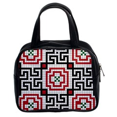 Vintage Style Seamless Black White And Red Tile Pattern Wallpaper Background Classic Handbags (2 Sides)