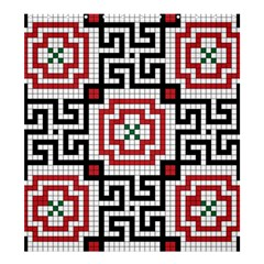 Vintage Style Seamless Black White And Red Tile Pattern Wallpaper Background Shower Curtain 66  x 72  (Large)