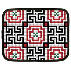 Vintage Style Seamless Black White And Red Tile Pattern Wallpaper Background Netbook Case (XL)