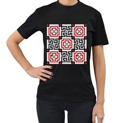 Vintage Style Seamless Black White And Red Tile Pattern Wallpaper Background Women s T-Shirt (Black)