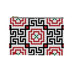 Vintage Style Seamless Black White And Red Tile Pattern Wallpaper Background Cosmetic Bag (Large)