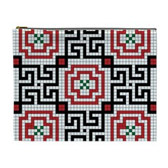 Vintage Style Seamless Black White And Red Tile Pattern Wallpaper Background Cosmetic Bag (xl)