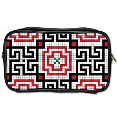 Vintage Style Seamless Black White And Red Tile Pattern Wallpaper Background Toiletries Bags 2 Side