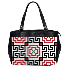 Vintage Style Seamless Black White And Red Tile Pattern Wallpaper Background Office Handbags (2 Sides)
