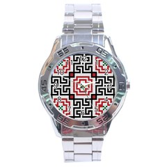 Vintage Style Seamless Black White And Red Tile Pattern Wallpaper Background Stainless Steel Analogue Watch