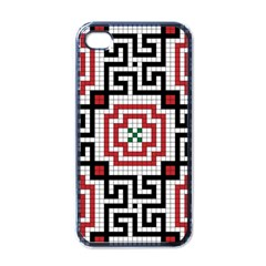 Vintage Style Seamless Black White And Red Tile Pattern Wallpaper Background Apple iPhone 4 Case (Black)