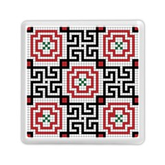 Vintage Style Seamless Black White And Red Tile Pattern Wallpaper Background Memory Card Reader (square)