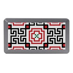 Vintage Style Seamless Black White And Red Tile Pattern Wallpaper Background Memory Card Reader (Mini)