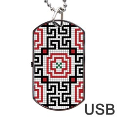 Vintage Style Seamless Black White And Red Tile Pattern Wallpaper Background Dog Tag USB Flash (Two Sides)