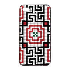 Vintage Style Seamless Black White And Red Tile Pattern Wallpaper Background Apple iPhone 4/4s Seamless Case (Black)