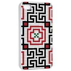 Vintage Style Seamless Black White And Red Tile Pattern Wallpaper Background Apple iPhone 4/4s Seamless Case (White)