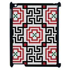 Vintage Style Seamless Black White And Red Tile Pattern Wallpaper Background Apple iPad 2 Case (Black)