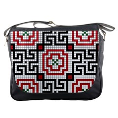 Vintage Style Seamless Black White And Red Tile Pattern Wallpaper Background Messenger Bags