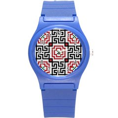 Vintage Style Seamless Black White And Red Tile Pattern Wallpaper Background Round Plastic Sport Watch (S)