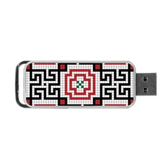 Vintage Style Seamless Black White And Red Tile Pattern Wallpaper Background Portable USB Flash (Two Sides)