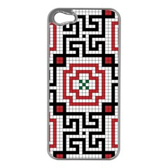 Vintage Style Seamless Black White And Red Tile Pattern Wallpaper Background Apple iPhone 5 Case (Silver)