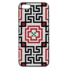 Vintage Style Seamless Black White And Red Tile Pattern Wallpaper Background Apple iPhone 5 Seamless Case (Black)