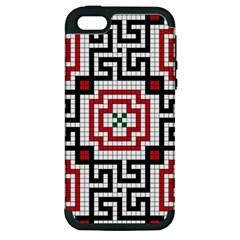 Vintage Style Seamless Black White And Red Tile Pattern Wallpaper Background Apple iPhone 5 Hardshell Case (PC+Silicone)