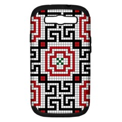 Vintage Style Seamless Black White And Red Tile Pattern Wallpaper Background Samsung Galaxy S III Hardshell Case (PC+Silicone)