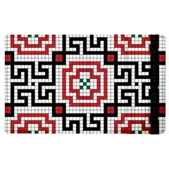 Vintage Style Seamless Black White And Red Tile Pattern Wallpaper Background Apple iPad 3/4 Flip Case