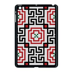 Vintage Style Seamless Black White And Red Tile Pattern Wallpaper Background Apple Ipad Mini Case (black)