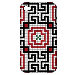 Vintage Style Seamless Black White And Red Tile Pattern Wallpaper Background Apple iPhone 4/4S Hardshell Case (PC+Silicone)