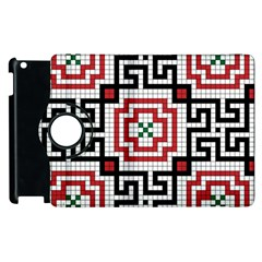 Vintage Style Seamless Black White And Red Tile Pattern Wallpaper Background Apple iPad 2 Flip 360 Case