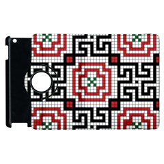 Vintage Style Seamless Black White And Red Tile Pattern Wallpaper Background Apple iPad 3/4 Flip 360 Case