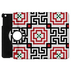 Vintage Style Seamless Black White And Red Tile Pattern Wallpaper Background Apple iPad Mini Flip 360 Case
