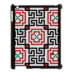 Vintage Style Seamless Black White And Red Tile Pattern Wallpaper Background Apple iPad 3/4 Case (Black)
