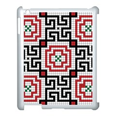 Vintage Style Seamless Black White And Red Tile Pattern Wallpaper Background Apple iPad 3/4 Case (White)