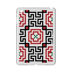Vintage Style Seamless Black White And Red Tile Pattern Wallpaper Background iPad Mini 2 Enamel Coated Cases