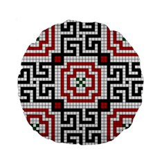 Vintage Style Seamless Black White And Red Tile Pattern Wallpaper Background Standard 15  Premium Round Cushions