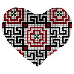 Vintage Style Seamless Black White And Red Tile Pattern Wallpaper Background Large 19  Premium Heart Shape Cushions