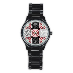 Vintage Style Seamless Black White And Red Tile Pattern Wallpaper Background Stainless Steel Round Watch