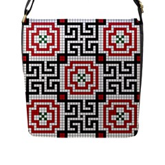 Vintage Style Seamless Black White And Red Tile Pattern Wallpaper Background Flap Messenger Bag (L)