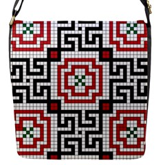 Vintage Style Seamless Black White And Red Tile Pattern Wallpaper Background Flap Messenger Bag (S)
