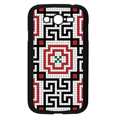 Vintage Style Seamless Black White And Red Tile Pattern Wallpaper Background Samsung Galaxy Grand DUOS I9082 Case (Black)