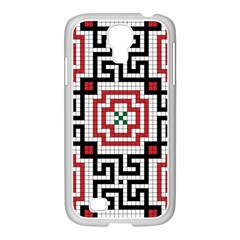 Vintage Style Seamless Black White And Red Tile Pattern Wallpaper Background Samsung GALAXY S4 I9500/ I9505 Case (White)